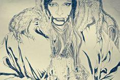 Skaði #semeano #pedro #goddess #graphic #illustration #skadi #stoat #skull #drawing #allegiance #winter