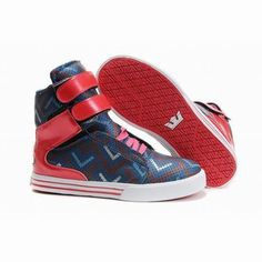 lady navy blue and red supra society high tops