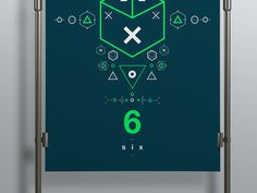 SIX // Symbols & Shapes (Green) #swiss #design #shapes #geometric #clean #symbols #number #poster #green