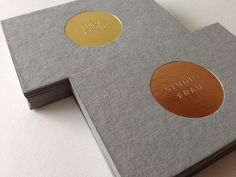 studio frau business cards on Behance #gold foil #gray cardboard #minimal branding