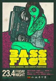 d9c64f49a17567969e10b118aff7cb50.jpg (550×787) #bass #speaker #girl #flyer #doubler #beatbox #illustration #tattoo #party