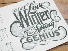 Winter Letterpress Calendar Card #type #calendar #letterpress #typography