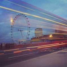 Jan Kloke - London Eye #bus #london #city #exposure #night #eye #light #blue #doubledecker