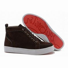 Christian Louboutin Rantus Orlato High Top Mens Sneakers Brown Suede #shoes