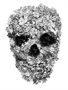 Floral Skull #sculpture #white #design #black #and #skull