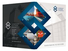 Blue Diamond Logistics Corporate Folder Design Template #folders #diamond #presentation #psd #corporate #logistics #blue #folder