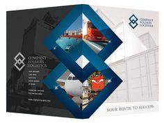 Blue Diamond Logistics Corporate Folder Design Template #folders #diamond #presentation #psd #corporate #logistics #blue #folder
