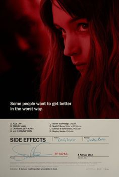 Image of the Day:Â The teaser poster for Stephen Soderbergh #kellerhouse #side #effects #design #poster #film