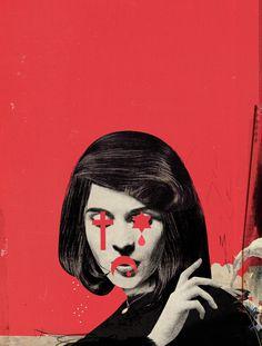 Emmanuel Polanco / For Femme Majuscule / Colagene.com #red #woman #women #religion #illustrration #vintage #god #collage