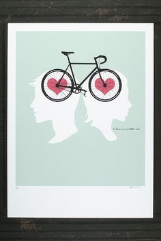 In Our Hearts & On Our Minds by Briana Auel #bicycle #print #artcrank #screenprint #silhouette #hearts #bike #poster #design