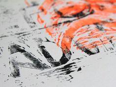 www.larabispinck.com #adventures #waves #neon #linoleum print #typography