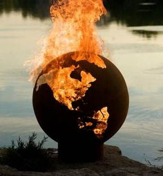 this isn't happiness™ (Burn Baby Burn), Peteski #photography #earth #flames #globe #burning #riverbank