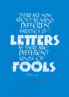 Letter Fools - Eric Gill - Joan Quirós Calligraphy