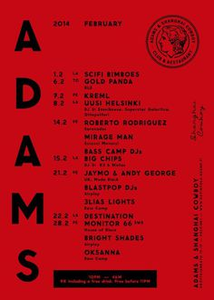 ADAMS Club & Restaurant website. Design: Tony Eräpuro #poster #program #music #promotion #graphicdesign #club