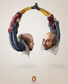 Penguin Audiobooks William Shakespeare #penguin #headphones #poster