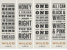 Dever Elizabeth #typography #type #music #letterpress #wilco #concert #banners #enviornmental