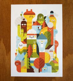 Character City print on the Behance Network #design #graphic #chracters