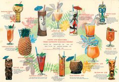 Vintage Cocktail Menu From Hawaiian Village in Tampa. #cocktail #vintage #illustrations