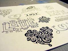 Custom Wedding Type Sketches by Debbie Clapper