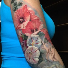 Painting style cherry blossom flowers tattoo