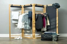 Whether used as a closet organizer, a room divider, or both, the Screen is a simple yet functional design that adapts to your lifestyle.