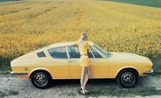 Yellow Audi #saudi #model #field #woman #automobile #yellow #vintage #car #flowers