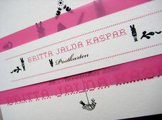 Geburtsanzeige für Jalda - Anna Härlin #pink #print #illustration