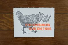The Chickenoceros / Letterpress / by Cecilia Hedin #rhino #letterpress #hybrid #illustration #animal