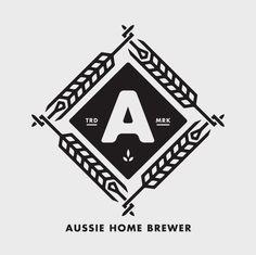 Aussie Home Brewer Logo #logo #badge #beer #wheat #brew #brewer