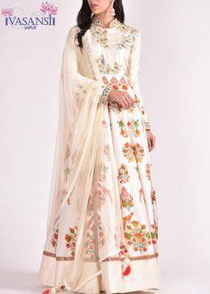 Vasansi Off White Silk Anarkali Suit