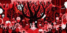 KHUAN+KTRON #red #pink #khuanktron #orange #black #illustration