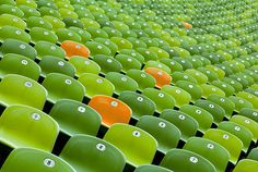Orange Chairs among Green Chairs - Christian Beirle González #photo #chairs