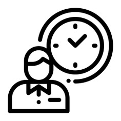 See more icon inspiration related to clock, work, worker, timer, user, business and finances, time and date, appointment, reunion, schedule, meeting and people on Flaticon.
