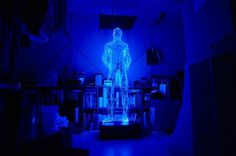 Light Sculptures by Makoto Tojiki | Colossal #light #man #led #glow