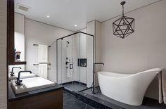 Dumbo Residence in Brooklyn #white #bathroom #black #modern