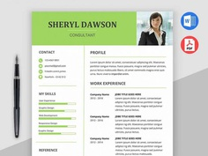 Free Consultant Resume Template with Elegant Design for MS Word