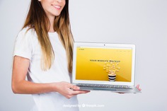 Mockup concept of woman holding laptop Free Psd. See more inspiration related to Mockup, Business, Technology, Computer, Template, Woman, Girl, Laptop, Presentation, Mock up, Modern, App, Pc, Display, Business woman, Screen, Female, Young, Device, Up, Concept, Computer screen, Holding, Showcase, Stylish, Showroom, Mock, Presenting and Showing on Freepik.