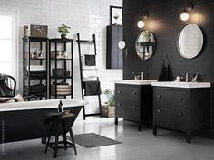 The Design Chaser #white #house #home #black #bathroom