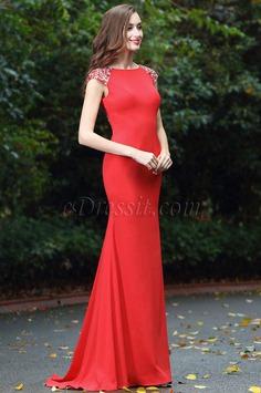 eDressit Latest Red Beaded Evening Dress for Women (00170102)