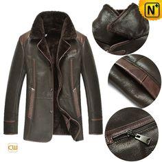 New York Style Shearling Fur Leather Coat CW877238. #mens #shearling #coat