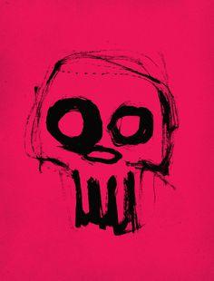 Skull on pink Art Print