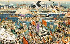 Lufthansa Passangers on Tour Hongkong illustrations
