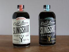Sligshot Bottles #packaging #design #label #logo #coffee #type