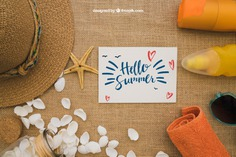 Summer concept with card Free Psd. See more inspiration related to Mockup, Card, Summer, Template, Paper, Beach, Sea, Sun, Holiday, Mock up, Decoration, Hat, Pineapple, Decorative, Sunglasses, Vacation, Templates, Cream, Shell, Summer beach, Sunshine, Aloha, Up, Season, Concept, Holiday card, Starfish, Postal, Sea shell, Seashell, Composition, Mock, Summertime and Seasonal on Freepik.