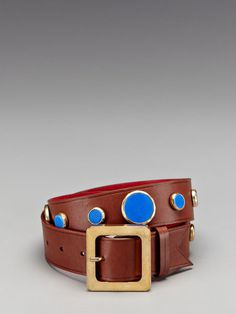 Meredith Wendell 40MM Metal Waist Belt with Dots #fashion #blue #brown #belt