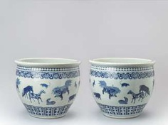 PAIR OF MASSIVE BLUE AND WHITE FISH BASINS WITH 'ZODIAC' ANIMAL PAINTING, QING #Sets #Teasets #Porcelainsets #Antiqueplates #Plates #Wallplates #Figures #Porcelainfigurines #porcelain