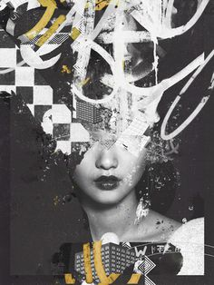 Raphael Vicenzi, collage, design, fashion, abstract, black and white, gold