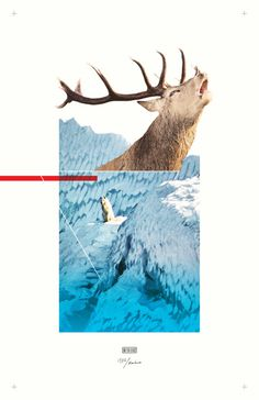 #collage #poster #minimalism #design #elk #wolf #thomasadcock #theletterthomas