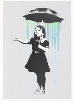 Banksy Nola (Blue/Green) AP - Signed Umbrella