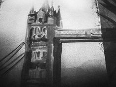 Haunted London #ghost #white #london #black #haunted #illustration #and #bridge #grey